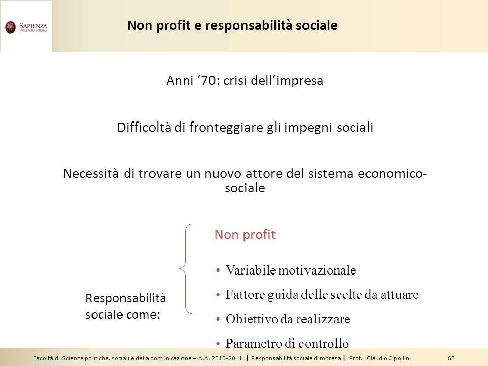 Facoltà di Scienze politiche, sociali e della comunicazione – A.A. 2010-2011 | Responsabilità sociale dimpresa | Prof. Claudio Cipollini 63 Anni 70: c