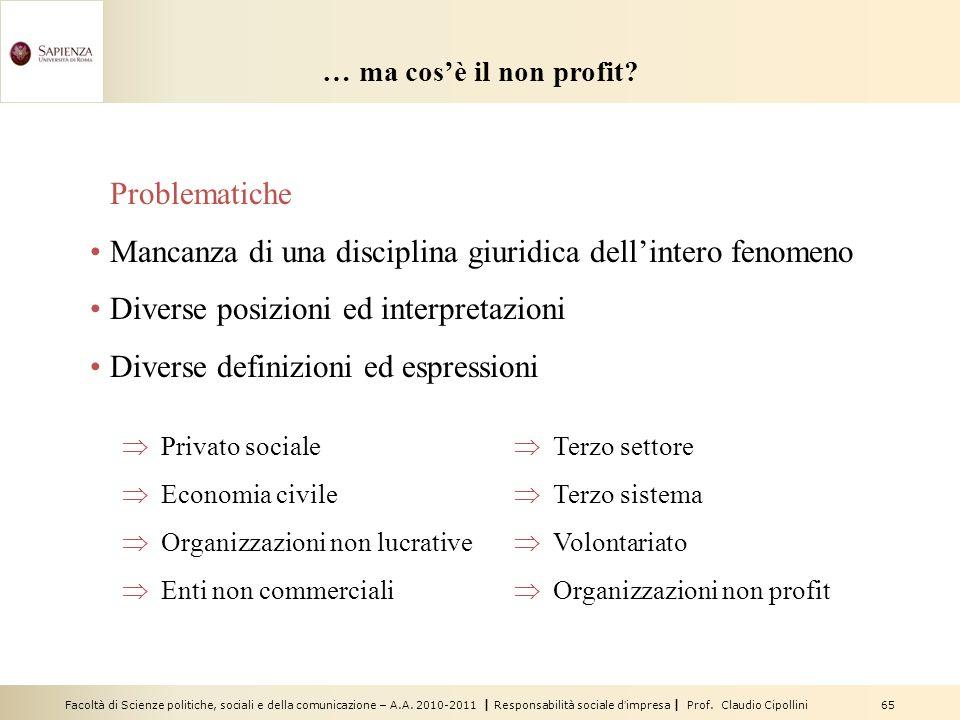 Facoltà di Scienze politiche, sociali e della comunicazione – A.A. 2010-2011 | Responsabilità sociale dimpresa | Prof. Claudio Cipollini 65 … ma cosè
