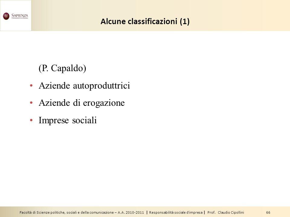 Facoltà di Scienze politiche, sociali e della comunicazione – A.A. 2010-2011 | Responsabilità sociale dimpresa | Prof. Claudio Cipollini 66 Alcune cla