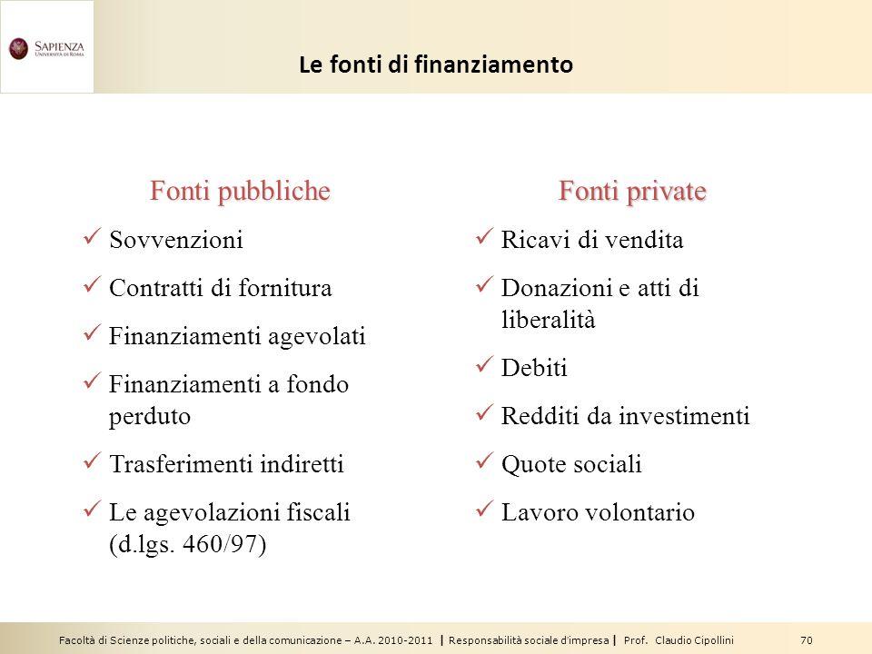 Facoltà di Scienze politiche, sociali e della comunicazione – A.A. 2010-2011 | Responsabilità sociale dimpresa | Prof. Claudio Cipollini 70 Le fonti d