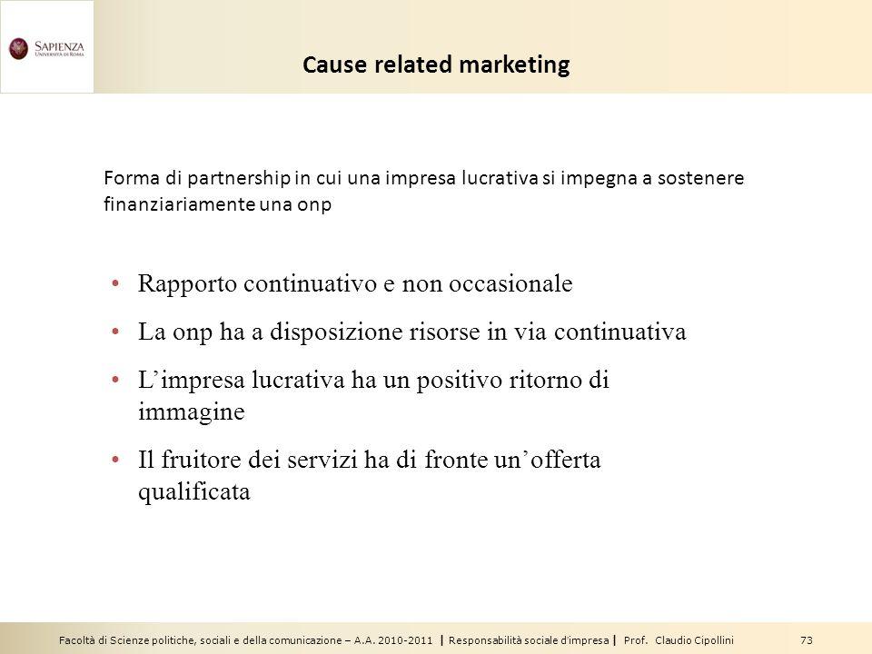 Facoltà di Scienze politiche, sociali e della comunicazione – A.A. 2010-2011 | Responsabilità sociale dimpresa | Prof. Claudio Cipollini 73 Cause rela