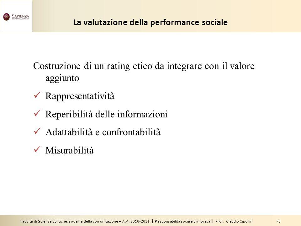 Facoltà di Scienze politiche, sociali e della comunicazione – A.A. 2010-2011 | Responsabilità sociale dimpresa | Prof. Claudio Cipollini 75 La valutaz