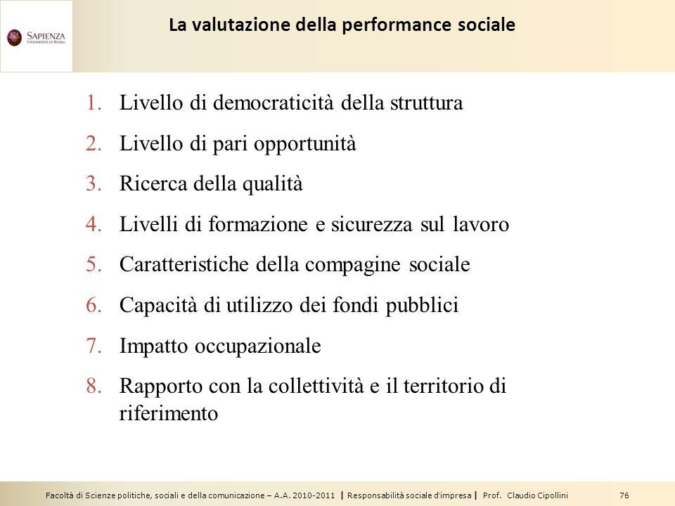 Facoltà di Scienze politiche, sociali e della comunicazione – A.A. 2010-2011 | Responsabilità sociale dimpresa | Prof. Claudio Cipollini 76 1.Livello