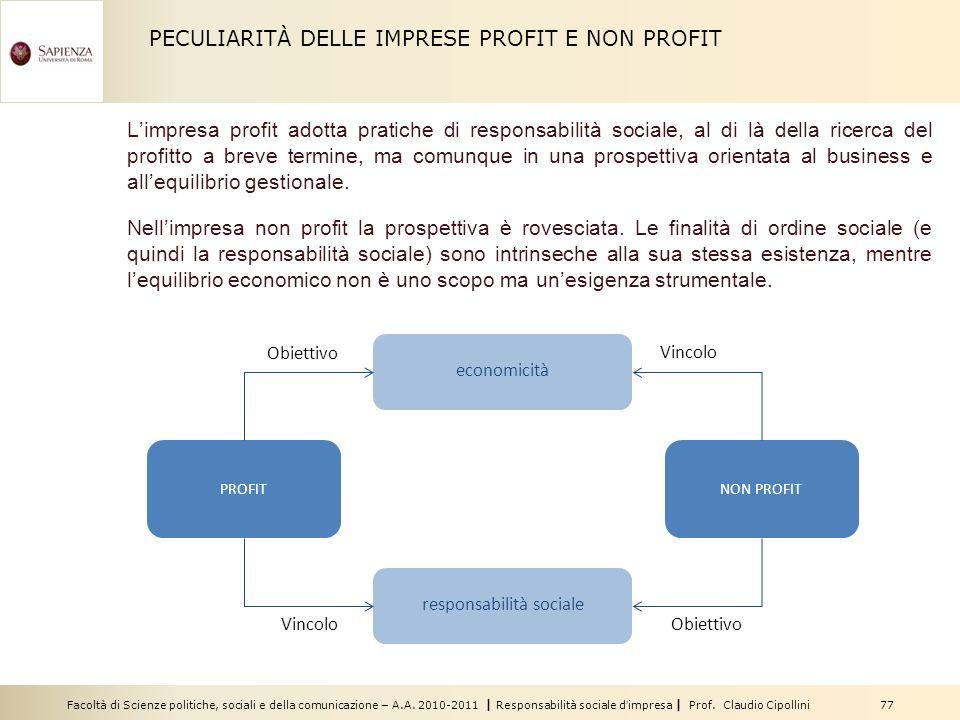 Facoltà di Scienze politiche, sociali e della comunicazione – A.A. 2010-2011 | Responsabilità sociale dimpresa | Prof. Claudio Cipollini 77 PECULIARIT