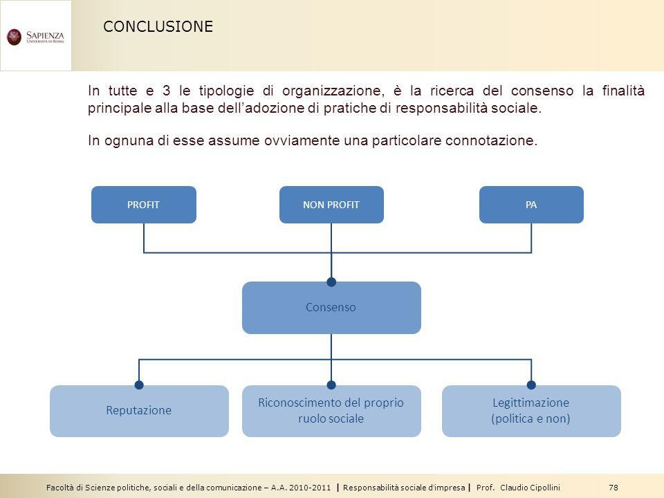 Facoltà di Scienze politiche, sociali e della comunicazione – A.A. 2010-2011 | Responsabilità sociale dimpresa | Prof. Claudio Cipollini 78 CONCLUSION