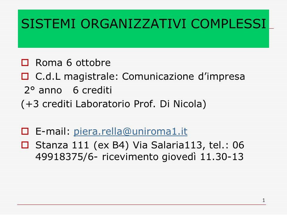 1 SISTEMI ORGANIZZATIVI COMPLESSI Roma 6 ottobre C.d.L magistrale: Comunicazione dimpresa 2° anno 6 crediti (+3 crediti Laboratorio Prof. Di Nicola) E