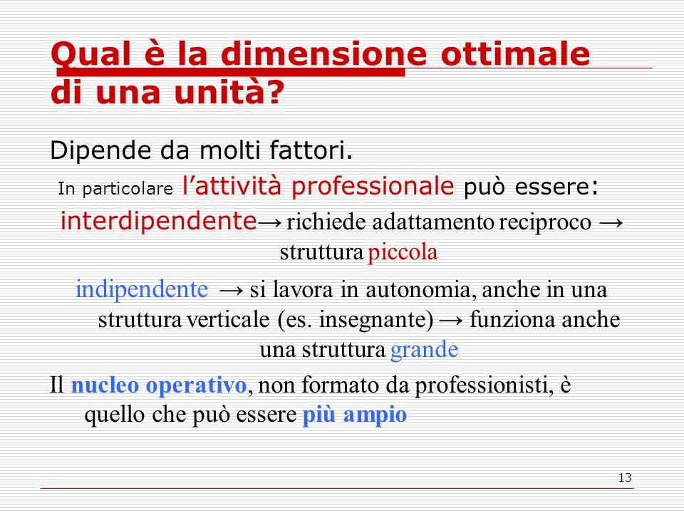 13 Qual è la dimensione ottimale di una unità? Dipende da molti fattori. In particolare lattività professionale può essere : interdipendente richiede