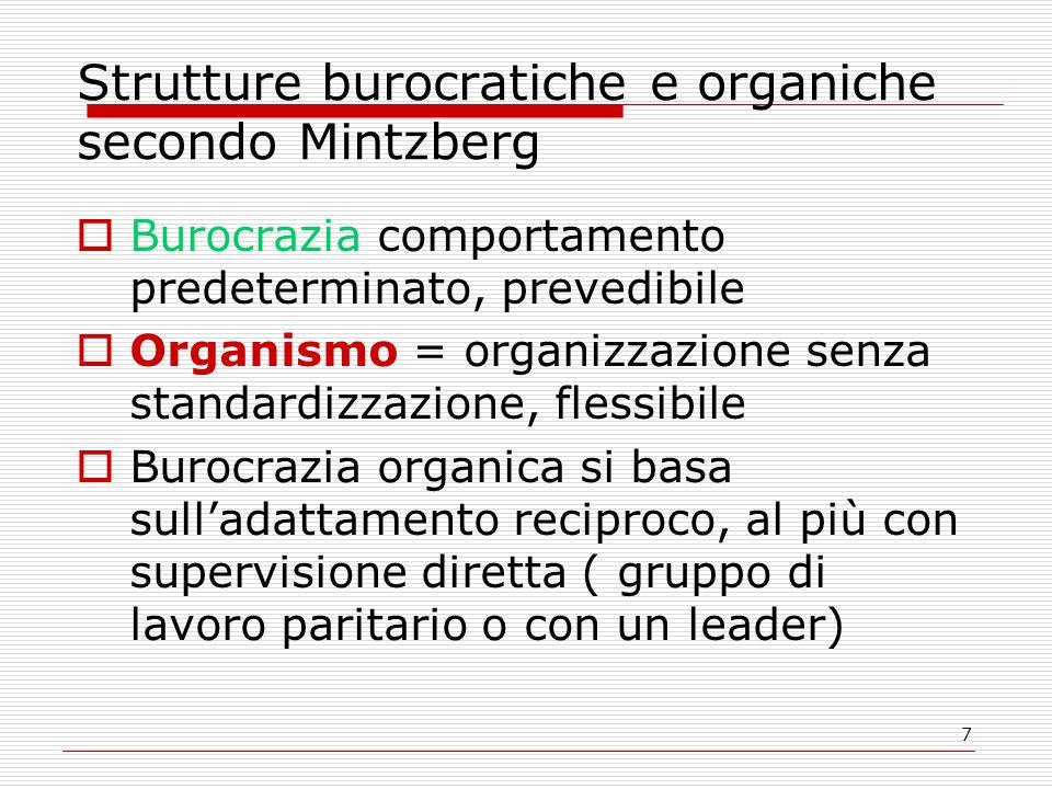 7 Strutture burocratiche e organiche secondo Mintzberg Burocrazia comportamento predeterminato, prevedibile Organismo = organizzazione senza standardi