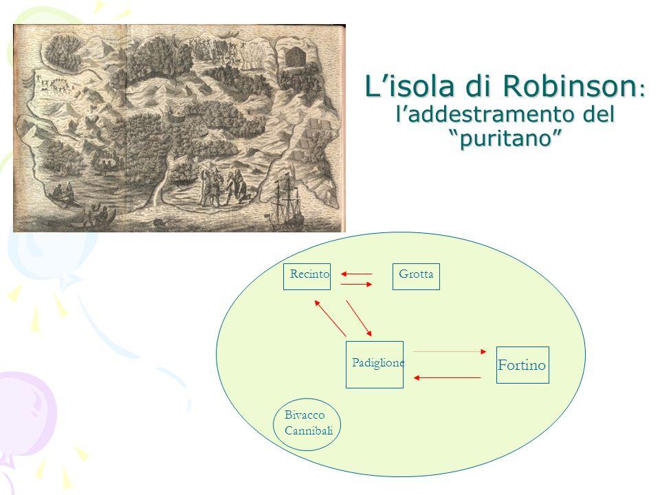 Lisola di Robinson : laddestramento del puritano Fortino Padiglione Recinto Bivacco Cannibali Grotta