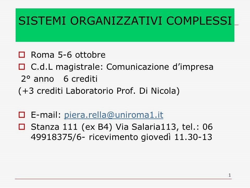 1 SISTEMI ORGANIZZATIVI COMPLESSI Roma 5-6 ottobre C.d.L magistrale: Comunicazione dimpresa 2° anno 6 crediti (+3 crediti Laboratorio Prof. Di Nicola)