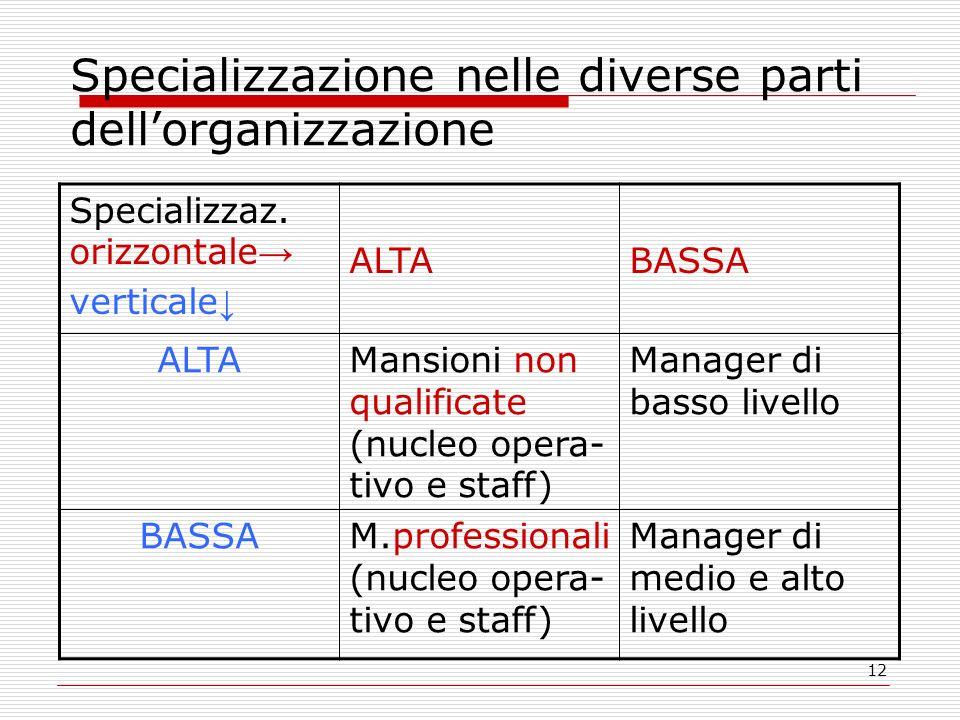 12 Specializzazione nelle diverse parti dellorganizzazione Specializzaz. orizzontale verticale ALTABASSA ALTAMansioni non qualificate (nucleo opera- t