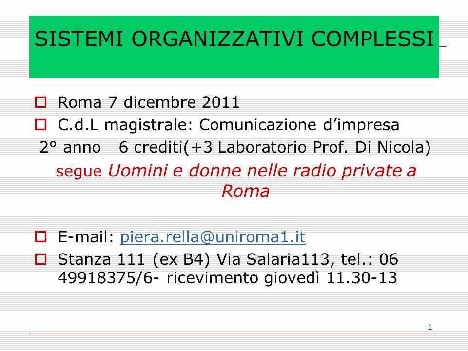 1 SISTEMI ORGANIZZATIVI COMPLESSI Roma 7 dicembre 2011 C.d.L magistrale: Comunicazione dimpresa 2° anno 6 crediti(+3 Laboratorio Prof.