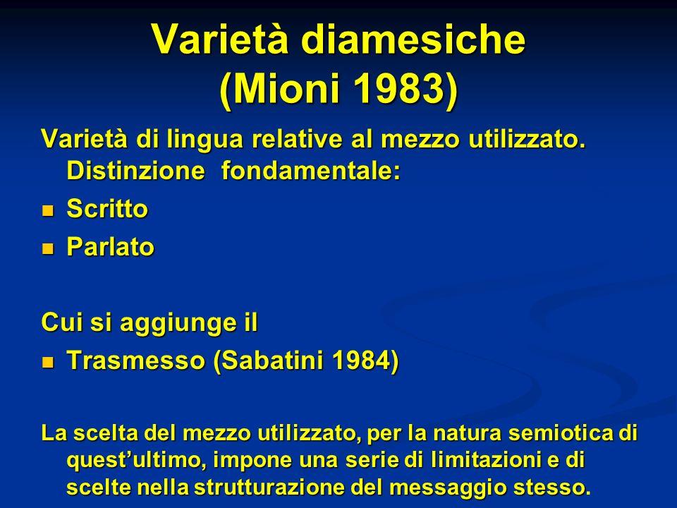Varietà diamesiche (Mioni 1983) Varietà di lingua relative al mezzo utilizzato.