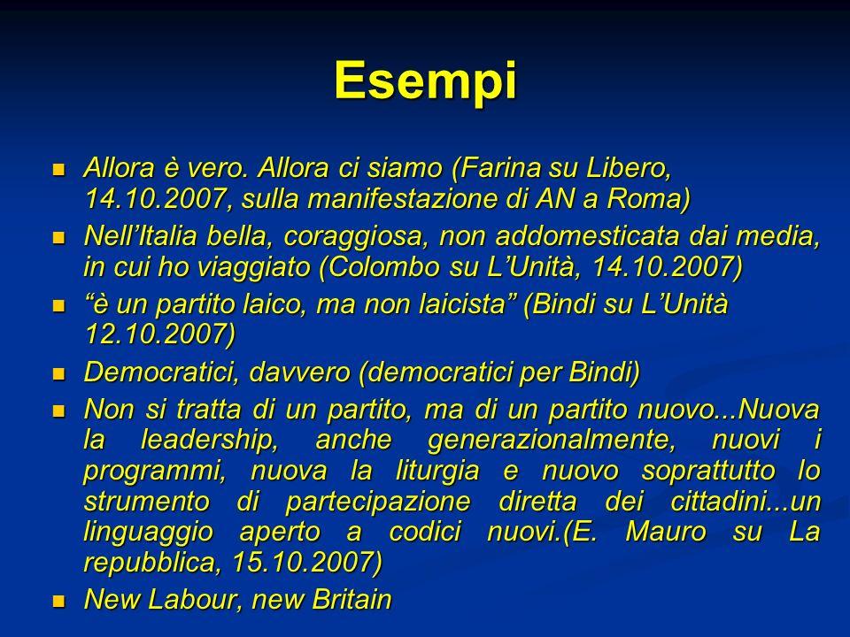 Esempi Allora è vero. Allora ci siamo (Farina su Libero, 14.10.2007, sulla manifestazione di AN a Roma) Allora è vero. Allora ci siamo (Farina su Libe