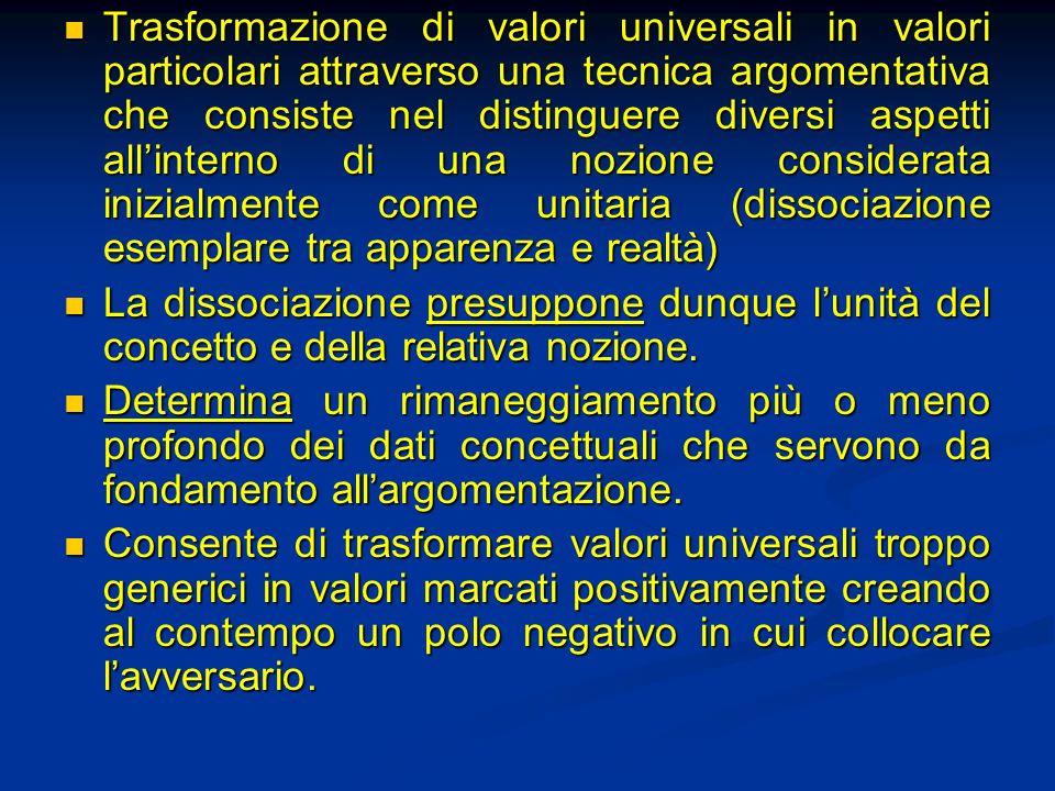 Trasformazione di valori universali in valori particolari attraverso una tecnica argomentativa che consiste nel distinguere diversi aspetti allinterno