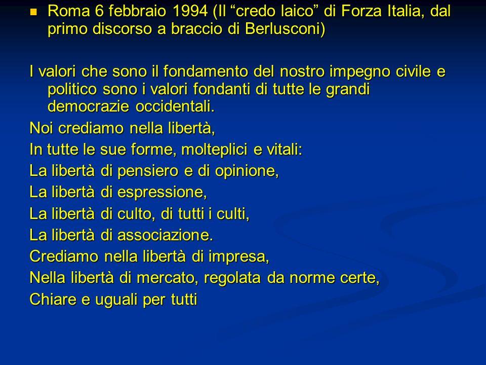 Roma 6 febbraio 1994 (Il credo laico di Forza Italia, dal primo discorso a braccio di Berlusconi) Roma 6 febbraio 1994 (Il credo laico di Forza Italia