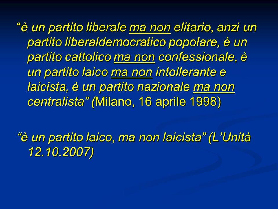 è un partito liberale ma non elitario, anzi un partito liberaldemocratico popolare, è un partito cattolico ma non confessionale, è un partito laico ma