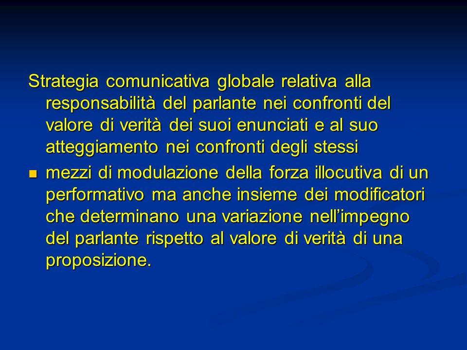 Strategia comunicativa globale relativa alla responsabilità del parlante nei confronti del valore di verità dei suoi enunciati e al suo atteggiamento