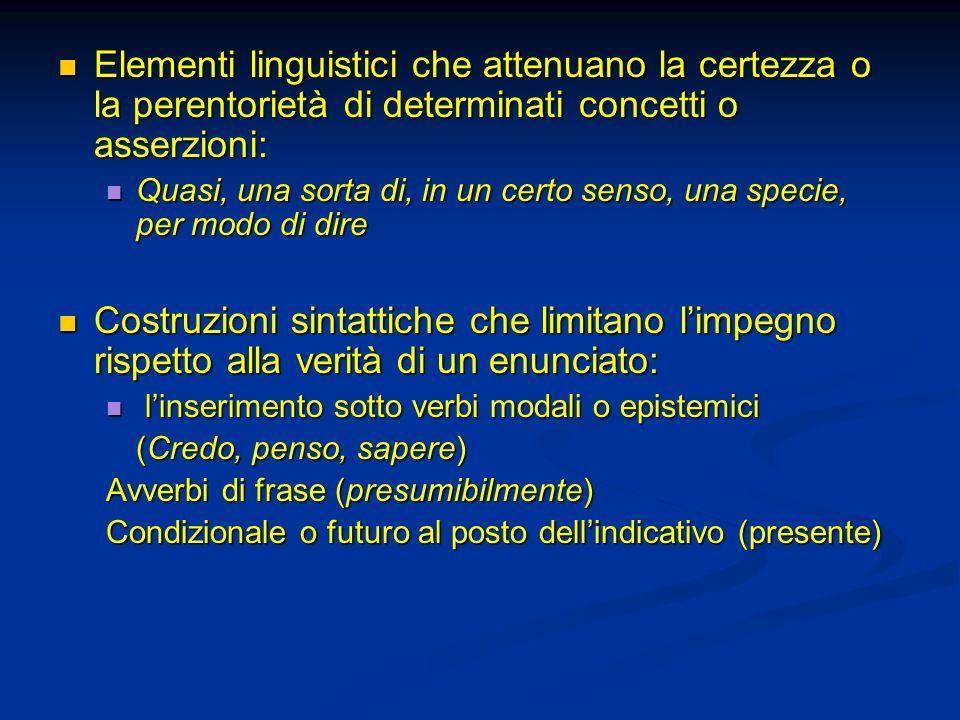 Elementi linguistici che attenuano la certezza o la perentorietà di determinati concetti o asserzioni: Elementi linguistici che attenuano la certezza