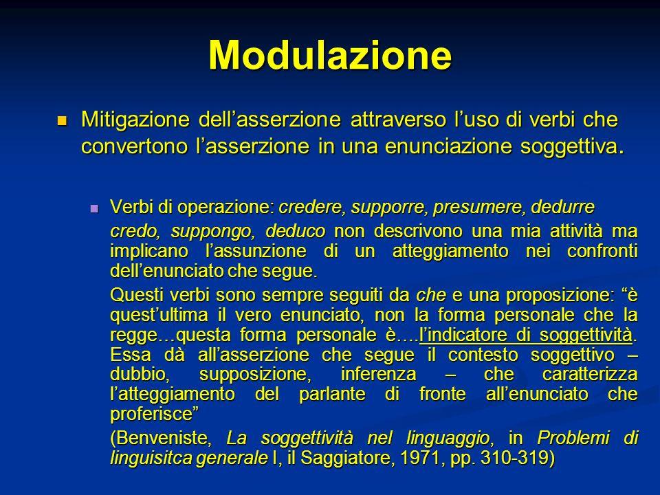 Modulazione Mitigazione dellasserzione attraverso luso di verbi che convertono lasserzione in una enunciazione soggettiva. Mitigazione dellasserzione