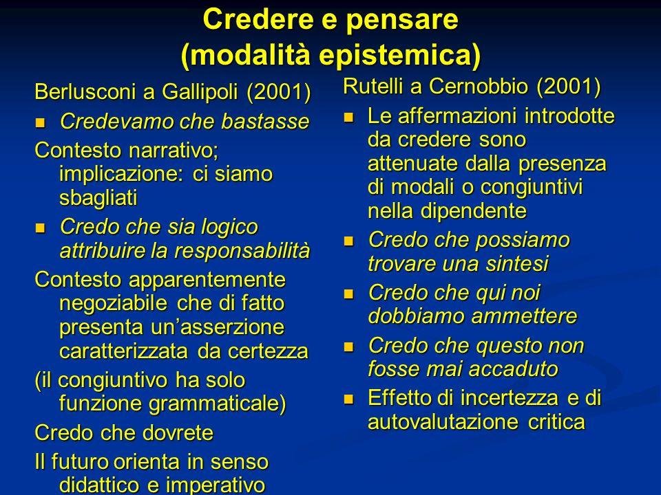 Credere e pensare (modalità epistemica) Berlusconi a Gallipoli (2001) Credevamo che bastasse Credevamo che bastasse Contesto narrativo; implicazione: