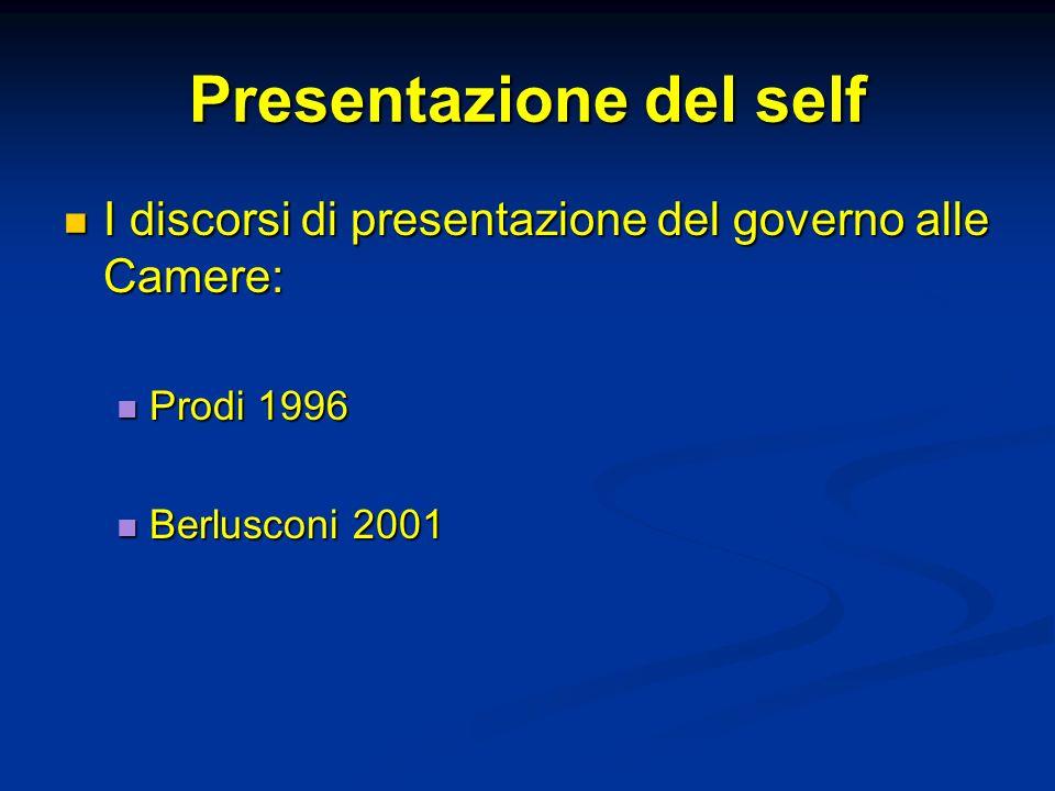 Presentazione del self I discorsi di presentazione del governo alle Camere: I discorsi di presentazione del governo alle Camere: Prodi 1996 Prodi 1996