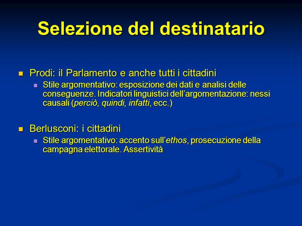 Selezione del destinatario Prodi: il Parlamento e anche tutti i cittadini Prodi: il Parlamento e anche tutti i cittadini Stile argomentativo: esposizi