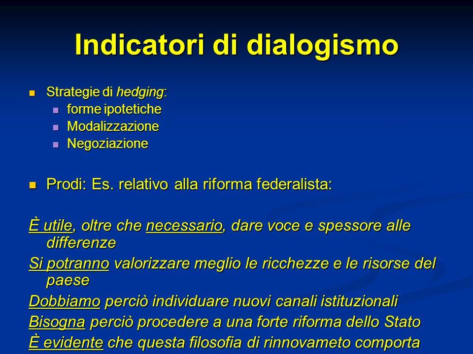 Indicatori di dialogismo Strategie di hedging: Strategie di hedging: forme ipotetiche forme ipotetiche Modalizzazione Modalizzazione Negoziazione Nego