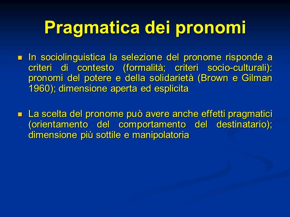 Pragmatica dei pronomi In sociolinguistica la selezione del pronome risponde a criteri di contesto (formalità; criteri socio-culturali): pronomi del p