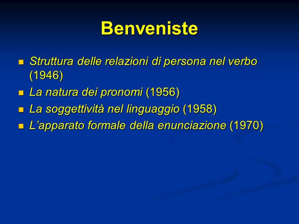 Benveniste Struttura delle relazioni di persona nel verbo (1946) Struttura delle relazioni di persona nel verbo (1946) La natura dei pronomi (1956) La