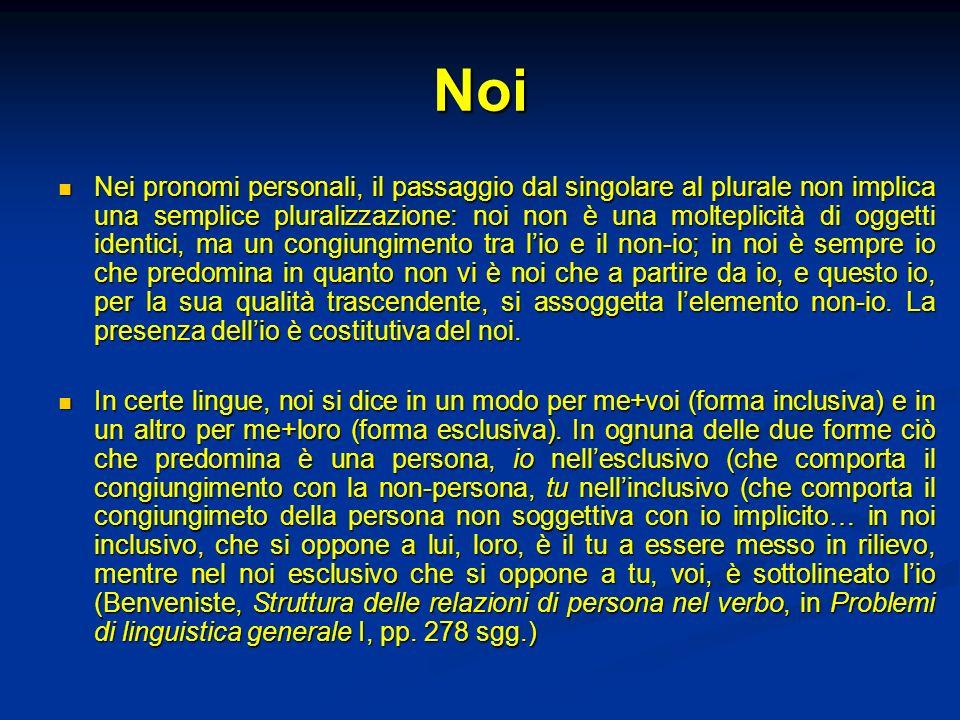 Noi Nei pronomi personali, il passaggio dal singolare al plurale non implica una semplice pluralizzazione: noi non è una molteplicità di oggetti ident