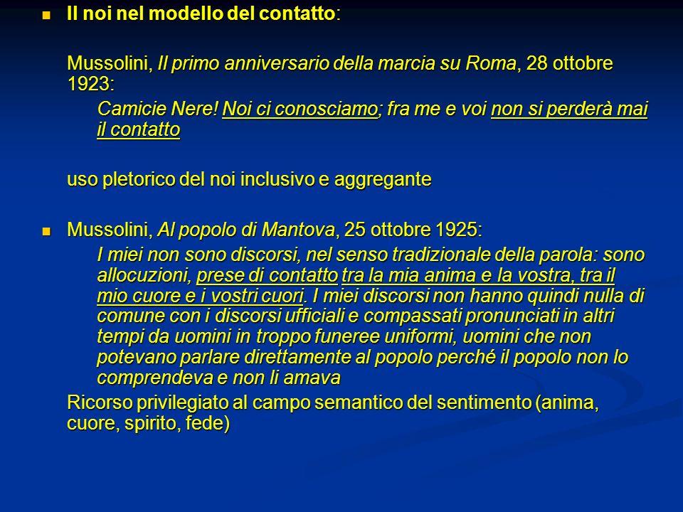 Il noi nel modello del contatto: Il noi nel modello del contatto: Mussolini, Il primo anniversario della marcia su Roma, 28 ottobre 1923: Camicie Nere