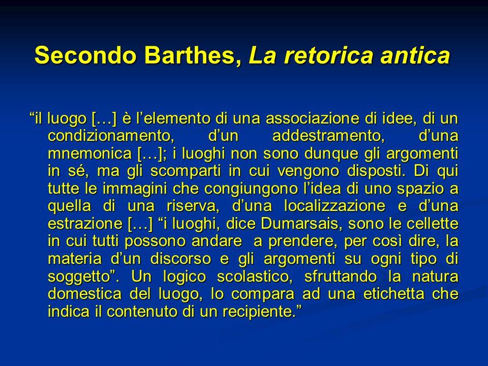 Secondo Barthes, La retorica antica il luogo […] è lelemento di una associazione di idee, di un condizionamento, dun addestramento, duna mnemonica […]