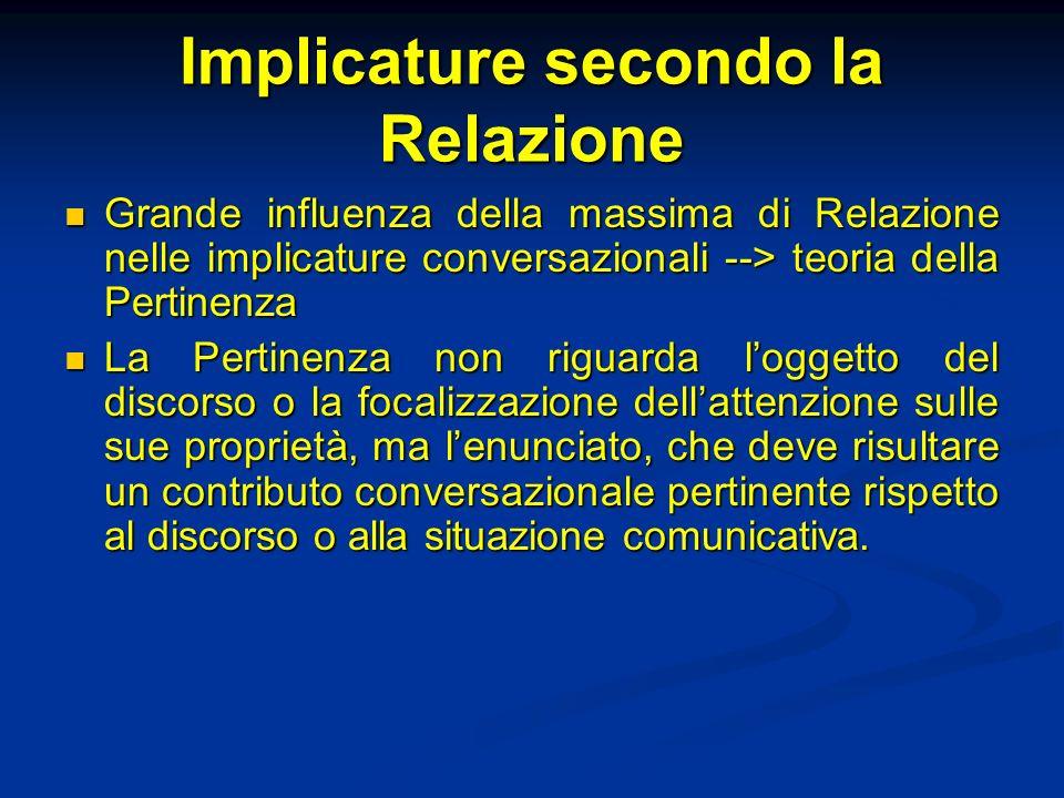 Implicature secondo la Relazione Grande influenza della massima di Relazione nelle implicature conversazionali --> teoria della Pertinenza Grande infl