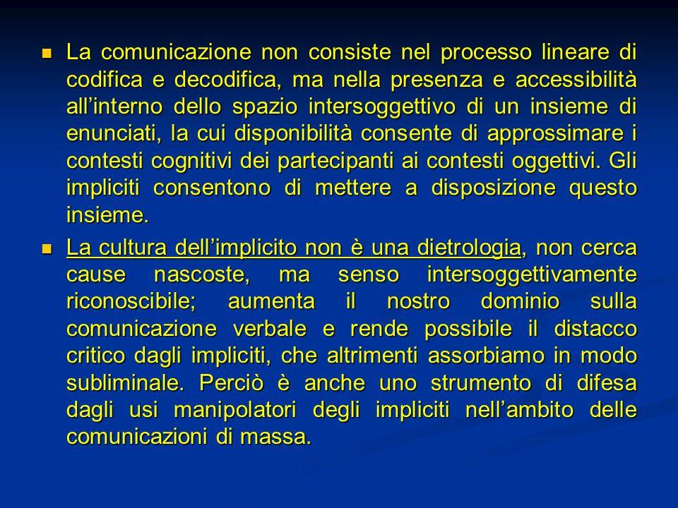La comunicazione non consiste nel processo lineare di codifica e decodifica, ma nella presenza e accessibilità allinterno dello spazio intersoggettivo