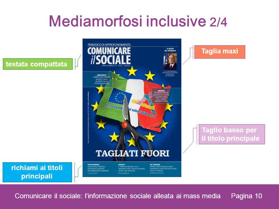 Pagina 10 Comunicare il sociale: linformazione sociale alleata ai mass media testata compattata Taglio basso per il titolo principale richiami ai titoli principali Taglia maxi Mediamorfosi inclusive 2/4