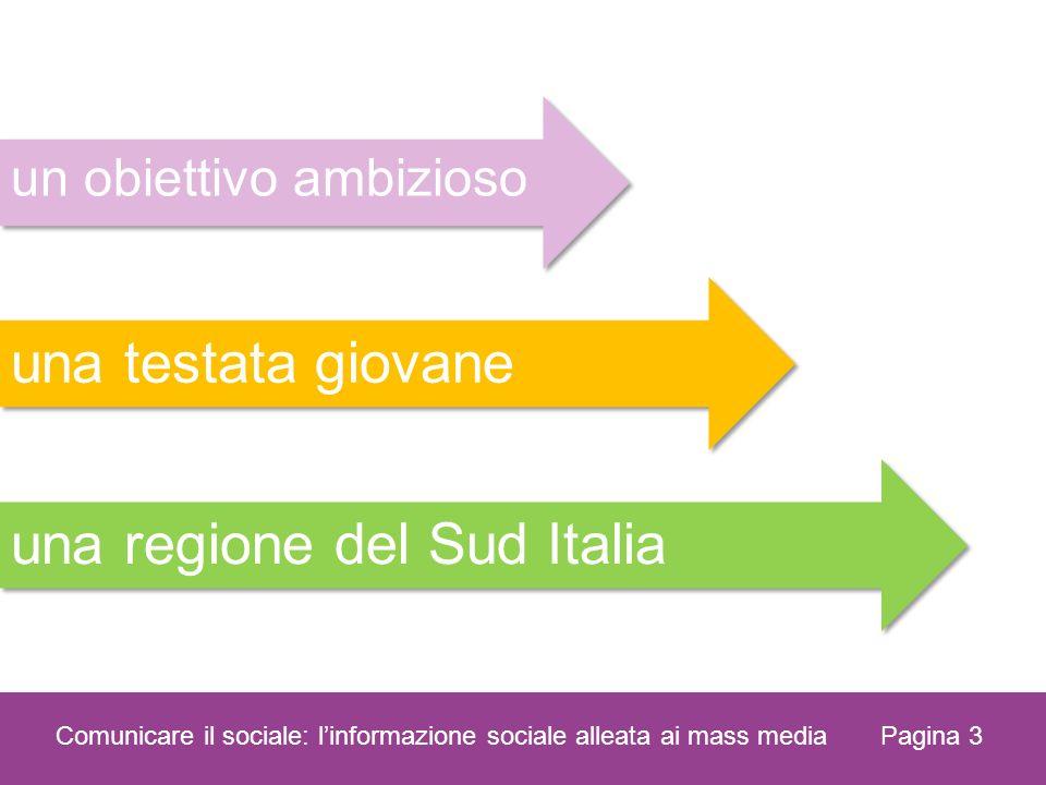 Pagina 3 Comunicare il sociale: linformazione sociale alleata ai mass media una regione del Sud Italia una testata giovane un obiettivo ambizioso