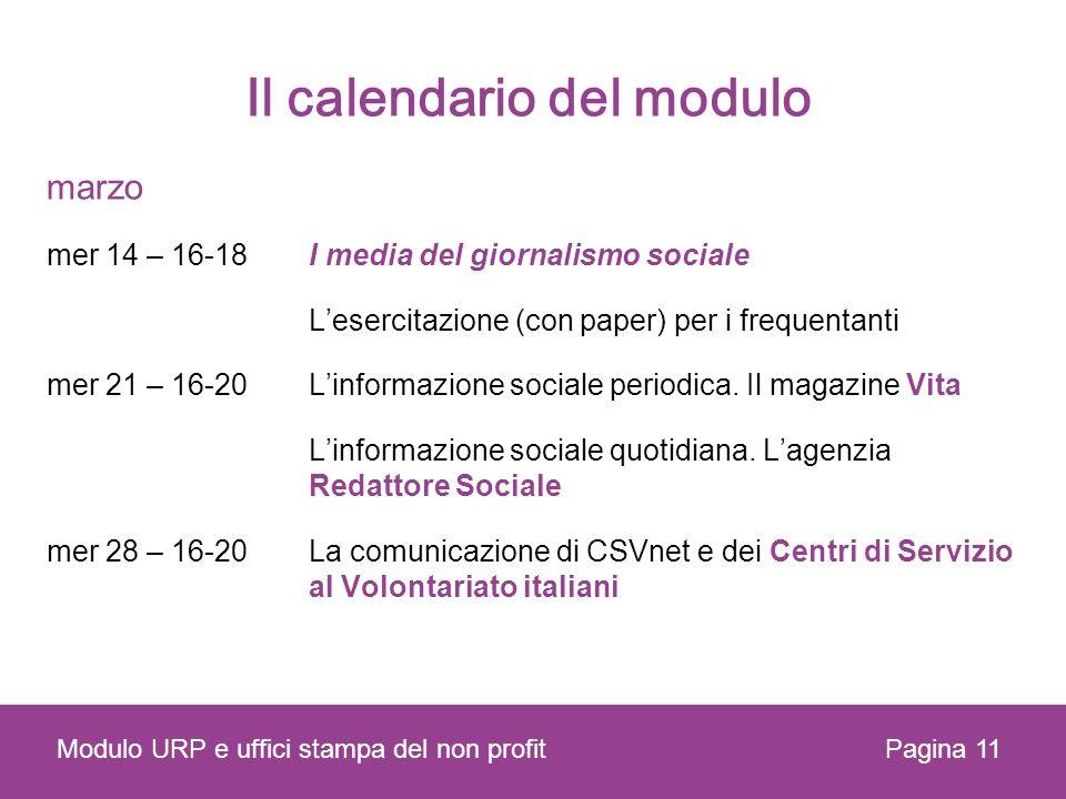 Il calendario del modulo marzo mer 14 – 16-18I media del giornalismo sociale Lesercitazione (con paper) per i frequentanti mer 21 – 16-20Linformazione sociale periodica.