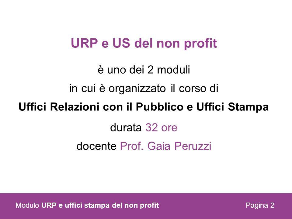 Pagina 2 Modulo URP e uffici stampa del non profit URP e US del non profit è uno dei 2 moduli in cui è organizzato il corso di Uffici Relazioni con il Pubblico e Uffici Stampa durata 32 ore docente Prof.
