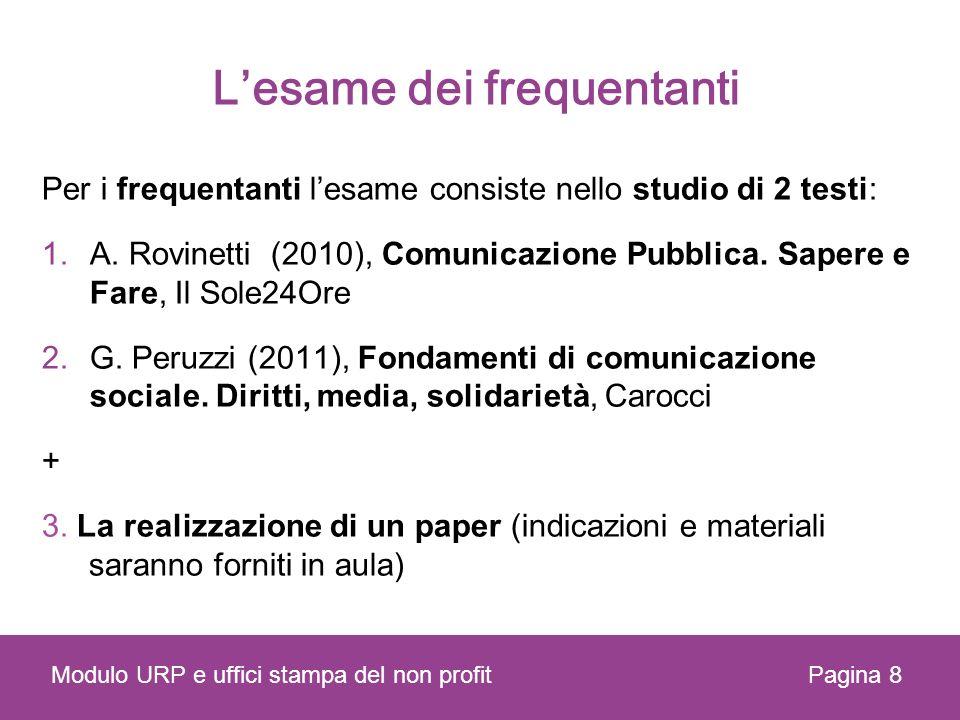Lesame dei frequentanti Per i frequentanti lesame consiste nello studio di 2 testi: 1.A. Rovinetti (2010), Comunicazione Pubblica. Sapere e Fare, Il S