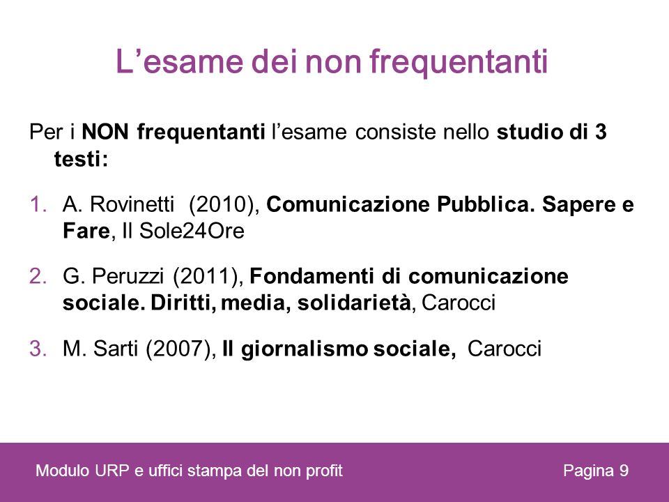 Lesame dei non frequentanti Per i NON frequentanti lesame consiste nello studio di 3 testi: 1.A. Rovinetti (2010), Comunicazione Pubblica. Sapere e Fa