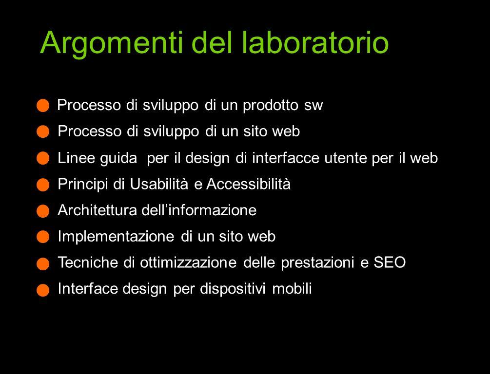 Processo di sviluppo di un prodotto sw Processo di sviluppo di un sito web Linee guida per il design di interfacce utente per il web Principi di Usabi