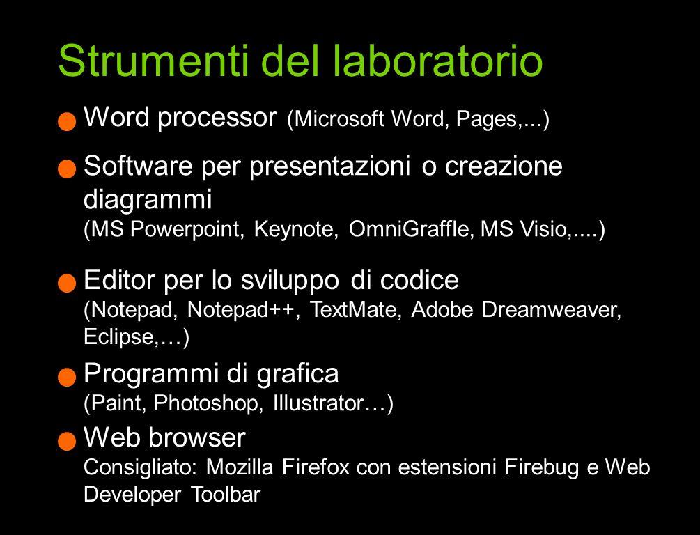Software per presentazioni o creazione diagrammi (MS Powerpoint, Keynote, OmniGraffle, MS Visio,....) Word processor (Microsoft Word, Pages,...) Edito