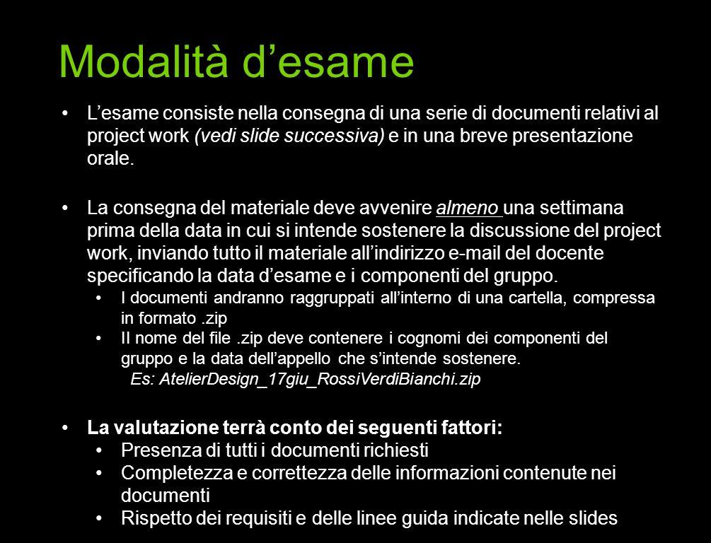 Lesame consiste nella consegna di una serie di documenti relativi al project work (vedi slide successiva) e in una breve presentazione orale. La conse