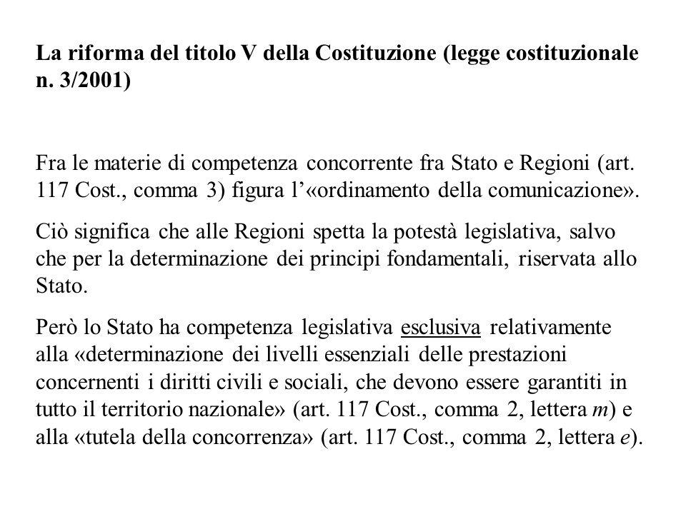 La riforma del titolo V della Costituzione (legge costituzionale n.