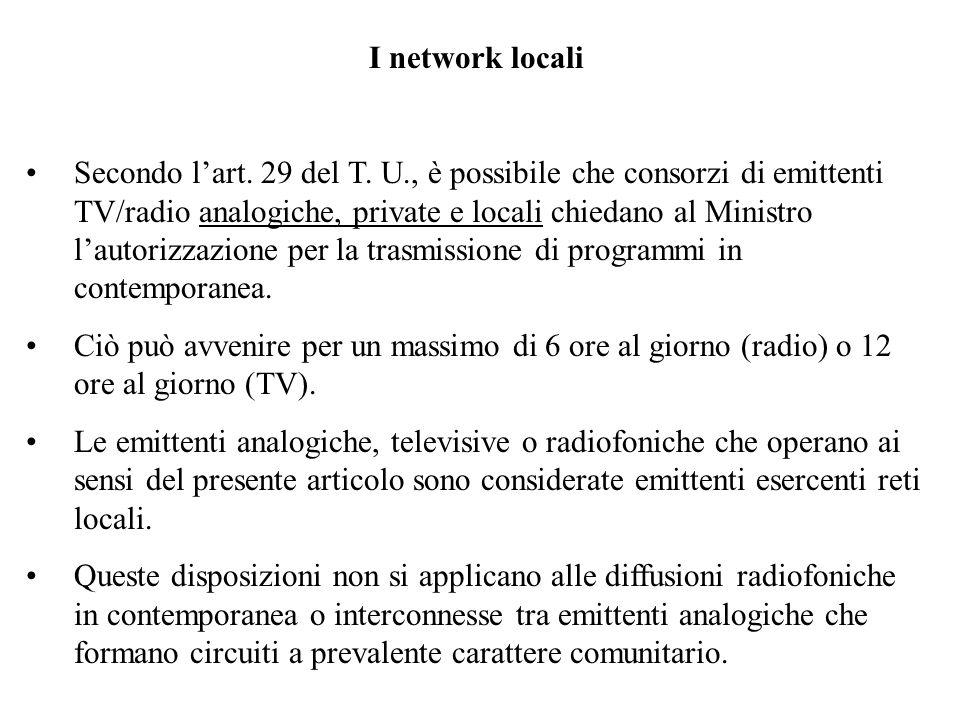 I network locali Secondo lart. 29 del T.