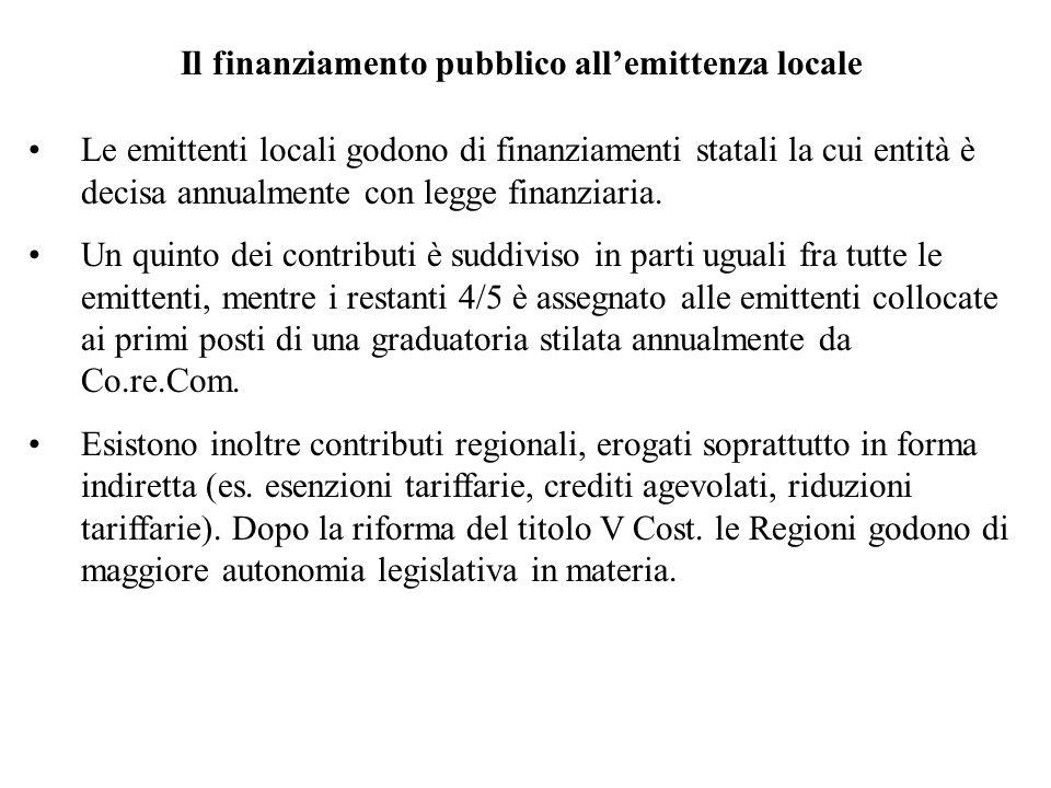 Il finanziamento pubblico allemittenza locale Le emittenti locali godono di finanziamenti statali la cui entità è decisa annualmente con legge finanziaria.