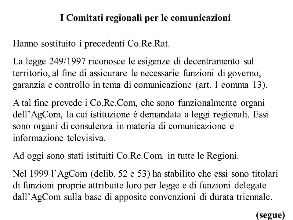 I Comitati regionali per le comunicazioni Hanno sostituito i precedenti Co.Re.Rat.