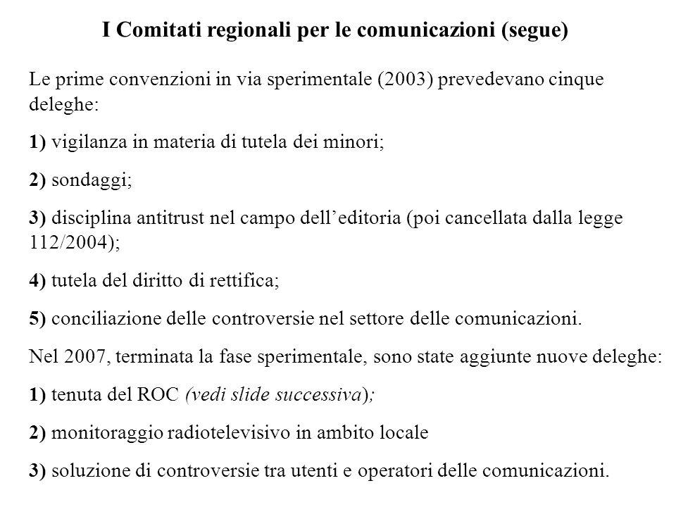 I Comitati regionali per le comunicazioni (segue) Le prime convenzioni in via sperimentale (2003) prevedevano cinque deleghe: 1) vigilanza in materia di tutela dei minori; 2) sondaggi; 3) disciplina antitrust nel campo delleditoria (poi cancellata dalla legge 112/2004); 4) tutela del diritto di rettifica; 5) conciliazione delle controversie nel settore delle comunicazioni.