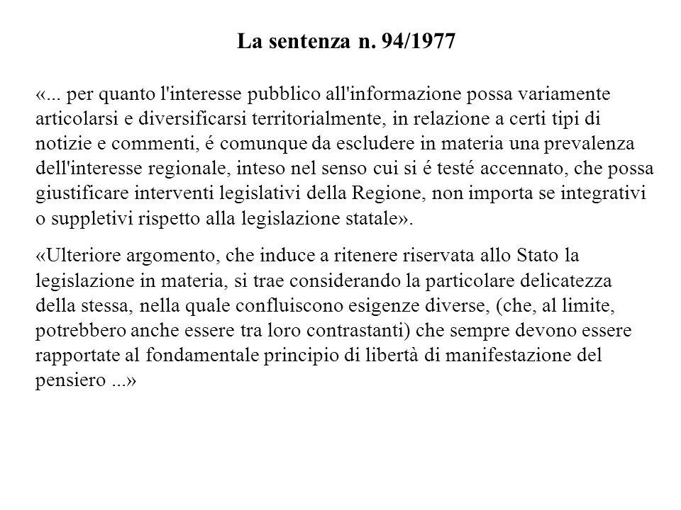 La sentenza n. 94/1977 «...